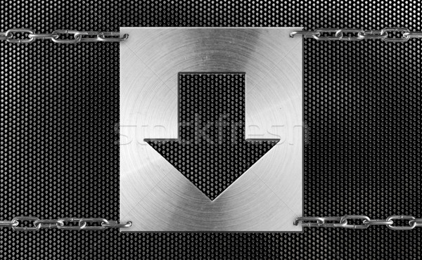 Stock photo: Abstract metal background. Download sign.