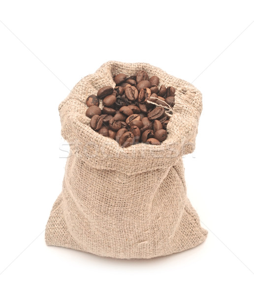 Coffee beans roasted in jute sack Stock photo © inxti