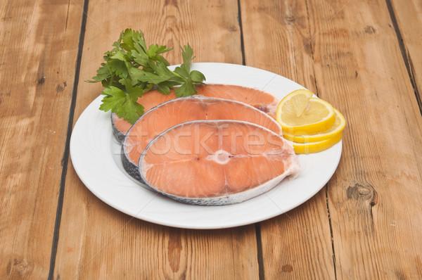 Somon biftek beyaz yemek ahşap masa Stok fotoğraf © inxti