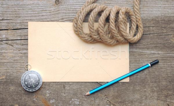 Stock fotó: Iránytű · kötél · régi · papír · fa · térkép · háttér