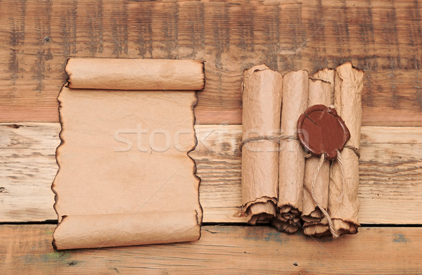 Scrolls of vintage paper with seal wax Stock photo © inxti