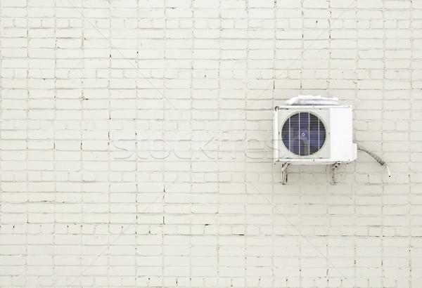 Tuğla duvar klima ev ev Metal tuğla Stok fotoğraf © inxti