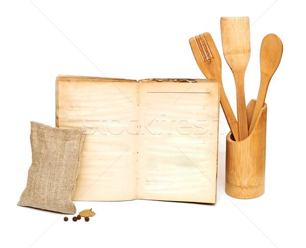 Houten koken witte eigen tekst Stockfoto © inxti