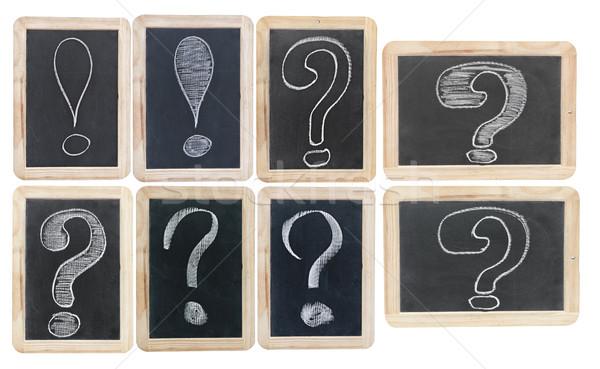 Vraag witte krijttekening klein geïsoleerd onderwijs Stockfoto © inxti