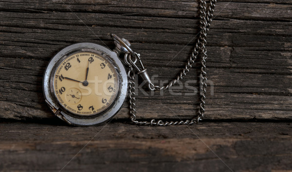 Edad reloj de bolsillo vintage madera reloj Foto stock © inxti