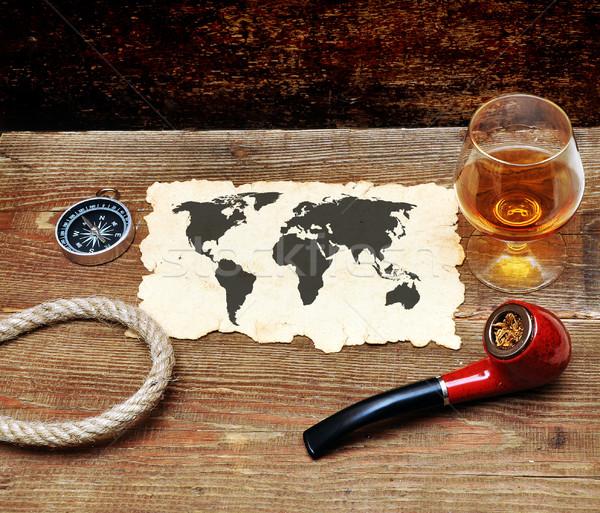 Vieux papier pipe verre cognac bois papier Photo stock © inxti