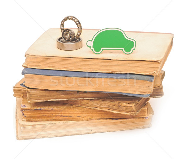 bearings with small car on pile books Stock photo © inxti