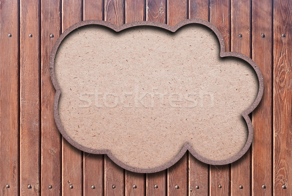blank recycled paper speech bubble on wood background Stock photo © inxti