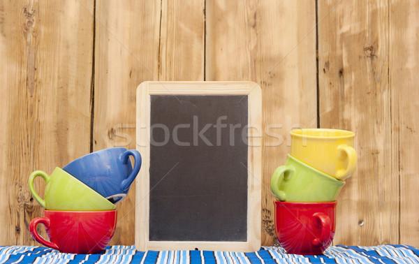 Farbenreich Kaffeetassen Streifen Tischdecke wenig schwarz Stock foto © inxti