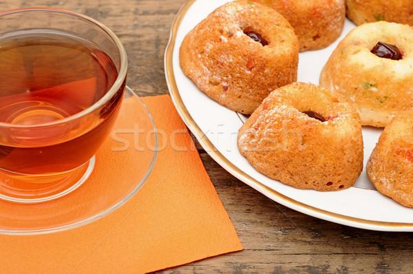 Podwieczorek serwowane drewniany stół pomarańczowy Zdjęcia stock © inxti