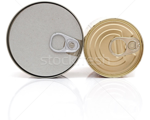 Cans top with opener isolated on white  Stock photo © inxti