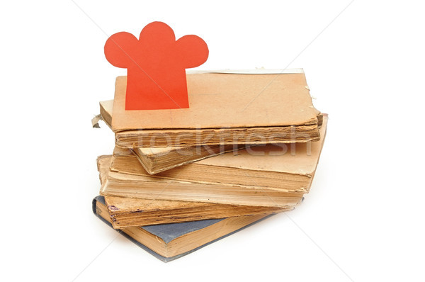 paper shape chef hat on stack books Stock photo © inxti