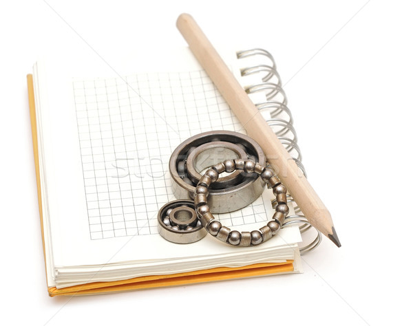 bearings on the blank notebook. copy space for your text Stock photo © inxti
