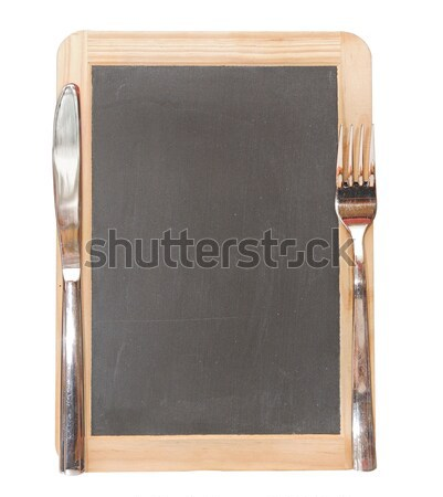 Photo stock: Menu · tableau · noir · couteau · fourche · table · plaque