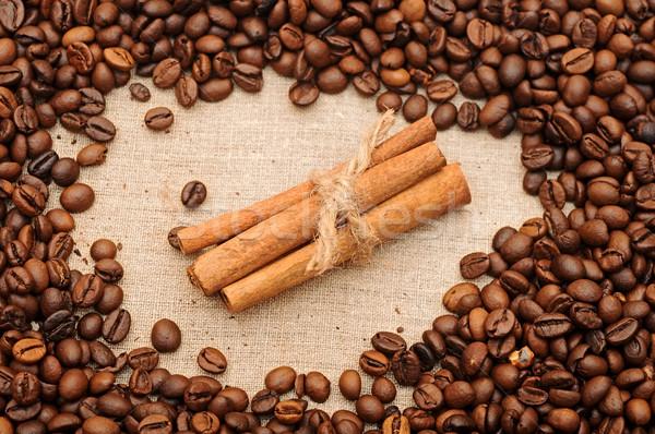 Aromatico chicchi di caffè cannella alimentare natura spazio Foto d'archivio © inxti