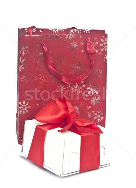 Stok fotoğraf: Alışveriş · çantası · renkli · kutu · beyaz · dizayn · doğum · günü