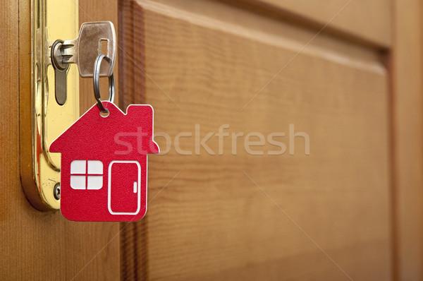 Zdjęcia stock: Kluczowych · blokady · domu · ikona · drewna · drzwi