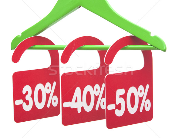Kleerhanger korting tag winkel ticket marketing Stockfoto © inxti