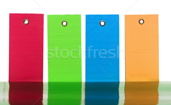 Stock photo: Group colorful tag label sticker for price or luggage baggage ta