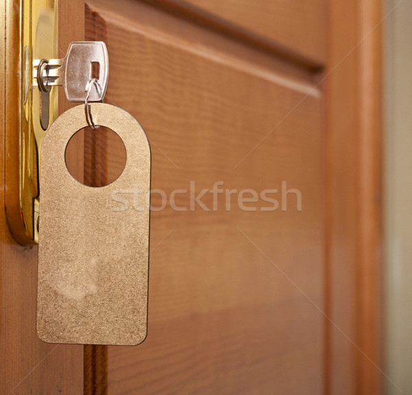 Chave buraco de fechadura dourado etiqueta negócio escritório Foto stock © inxti