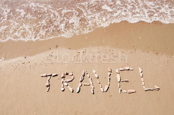 Reizen geschreven zandstrand zee landschap teken Stockfoto © inxti