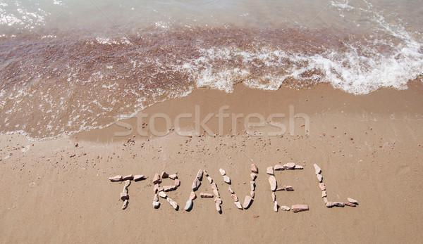 Foto stock: Viajar · escrito · praia · mar · paisagem · assinar
