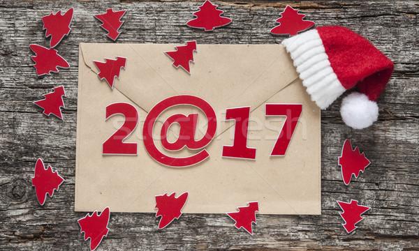 с Новым годом древесины бумаги конверт деревянный стол счастливым Сток-фото © inxti