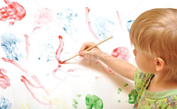 Artista pintura escove retrato cavalete Foto stock © inxti