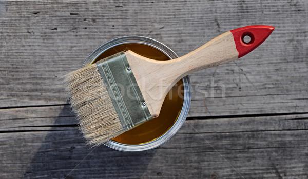 Ecset festékes flakon fa otthon élet tárgy Stock fotó © inxti