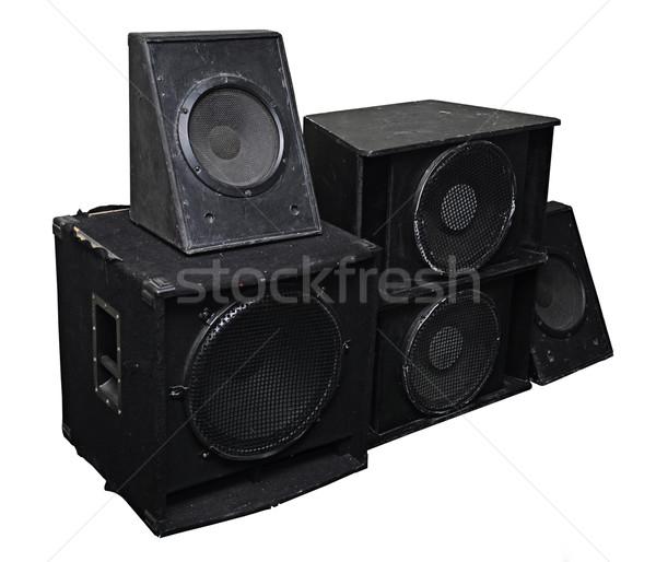 Eski güçlü sahne ses hoparlörler yalıtılmış Stok fotoğraf © inxti