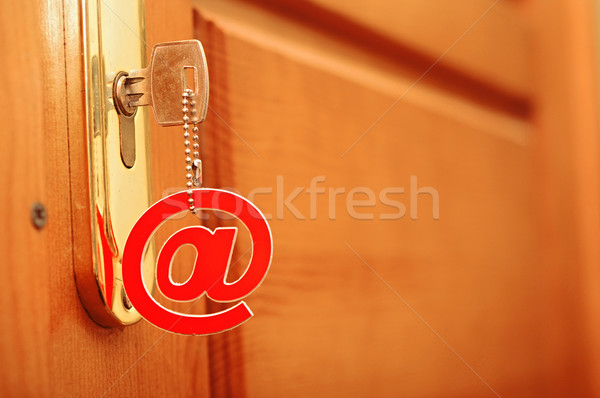 Photo stock: Argent · clé · courriel · symbole · serrure · isolé