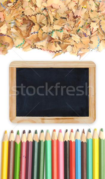 Сток-фото: Снова · в · школу · древесины · пространстве · зеленый · группа · столе