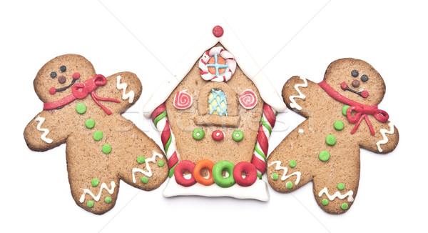 Pain d'épice maison gingerbread man blanche porte gâteau Photo stock © inxti
