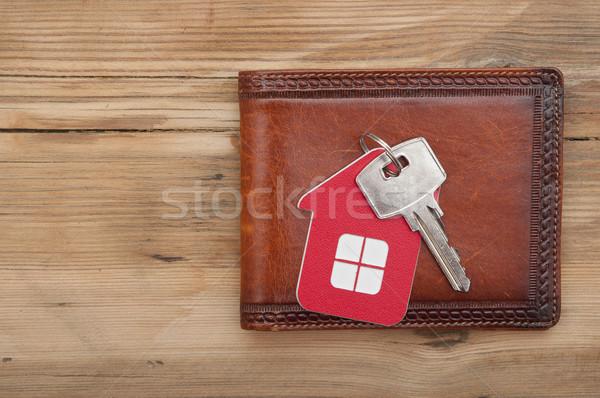 Cüzdan anahtar ahşap para ev ev Stok fotoğraf © inxti