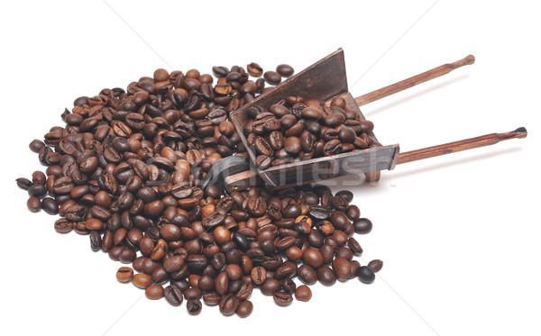 Miniature modèle brouette grains de café blanche bois Photo stock © inxti