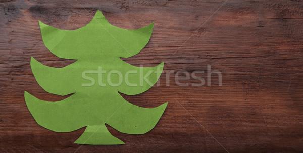 Enfeitar verde papel textura árvore Foto stock © inxti