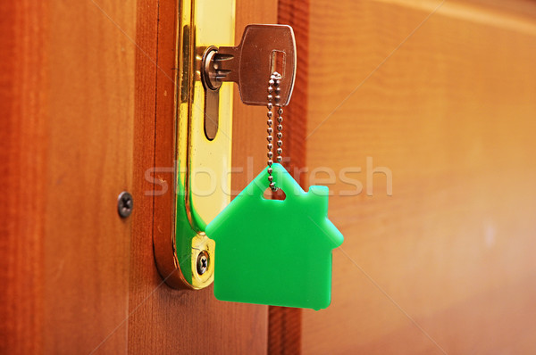 House key on a house shaped keyring in the lock of a door  Stock photo © inxti