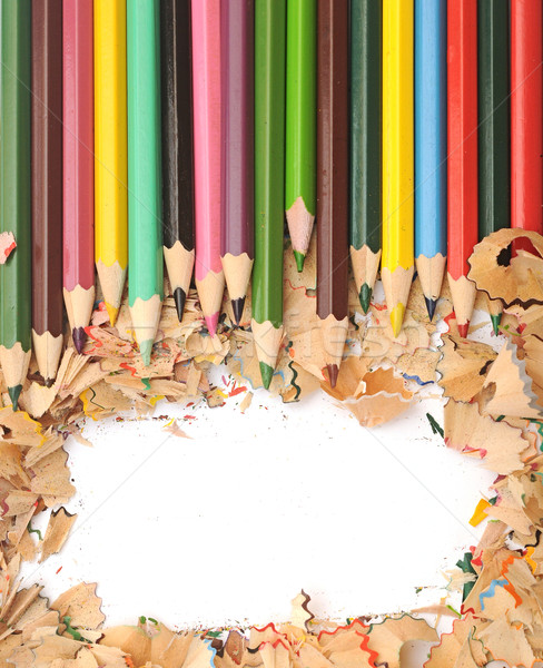 Colorful pencil border colorful pencil shavings on white backgro Stock photo © inxti