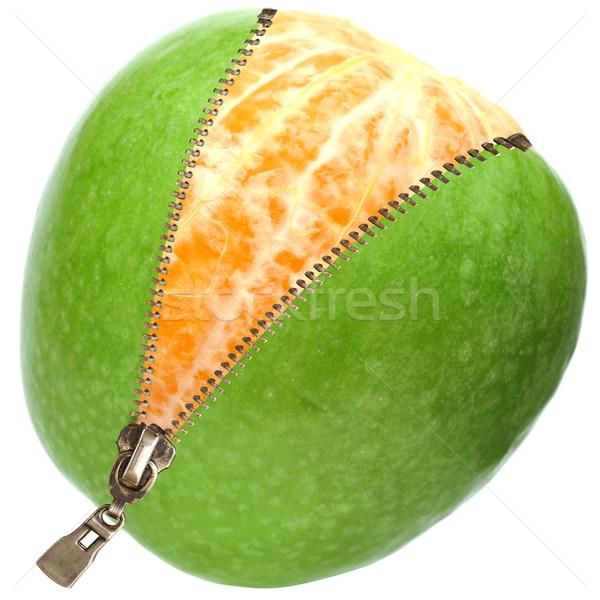 Oranje binnenkant appel rits geïsoleerd witte Stockfoto © inxti