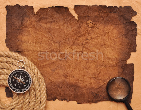 rope coil with compass on old paper Stock photo © inxti