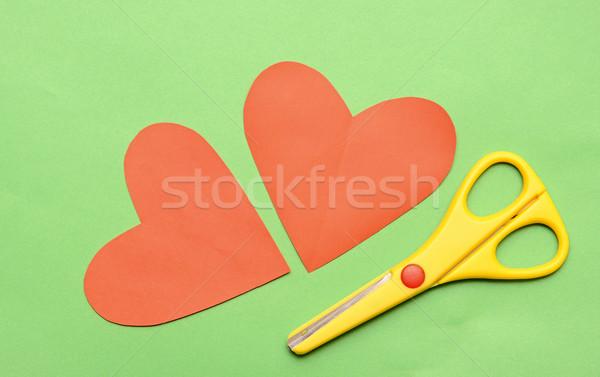 Red valentine heart and yellow scissor Stock photo © inxti