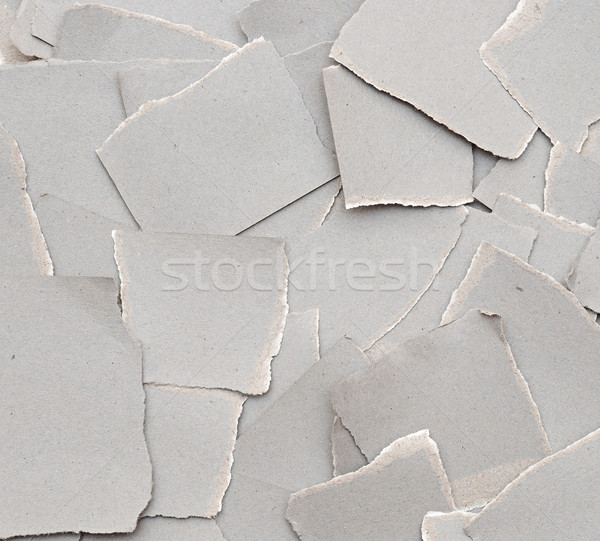 collection ripped pieces of gray cardboard on on white backgroun Stock photo © inxti