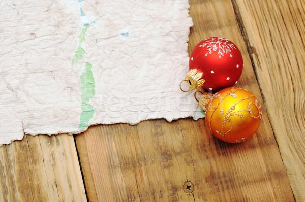 Karácsony dekoráció öreg elnyűtt papír terv Stock fotó © inxti