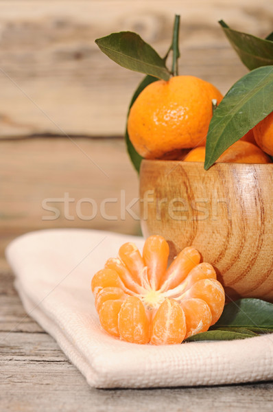 bowl of fresh mandarins on wooden table Stock photo © inxti