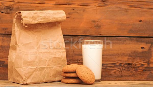 breakfast. glass milk and oatmeal cookies  Stock photo © inxti
