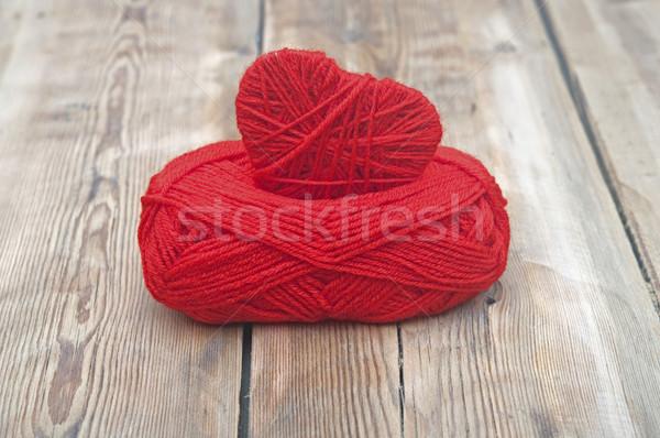 трикотажный сердце красный пряжи древесины свадьба Сток-фото © inxti