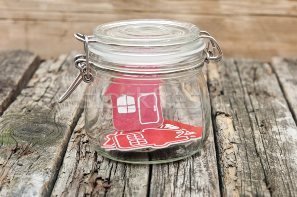 ストックフォト: ホーム · にログイン · ガラス · jarファイル · 木製のテーブル