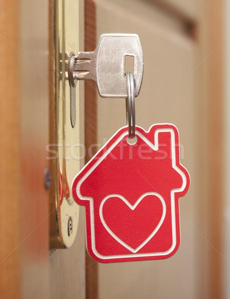 Símbolo casa vara chave buraco de fechadura madeira Foto stock © inxti