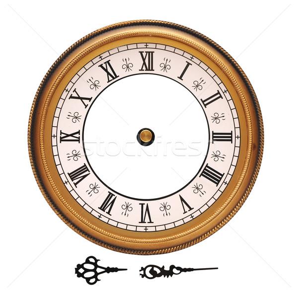 Foto stock: Vintage · parede · relógio · isolado · branco · cara