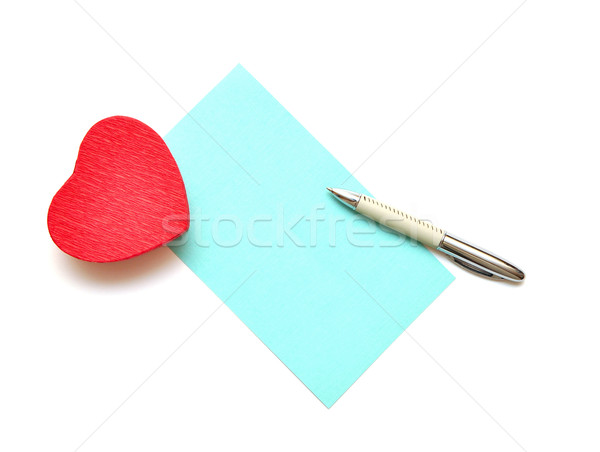 üres papír szöveg piros ajándék doboz szív alak fehér Stock fotó © inxti